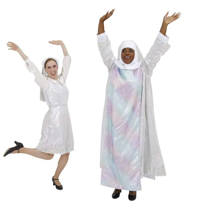 Rental Costumes for Sister Act White and Silver Habits Deloris and Mary Roberts