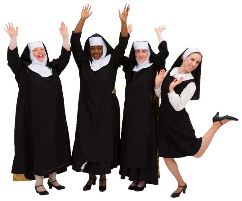 Rental Costumes for Sister Act Traditional Habits Deloris, Mary Roberts, Mary Lazurus, and Mary Patrick