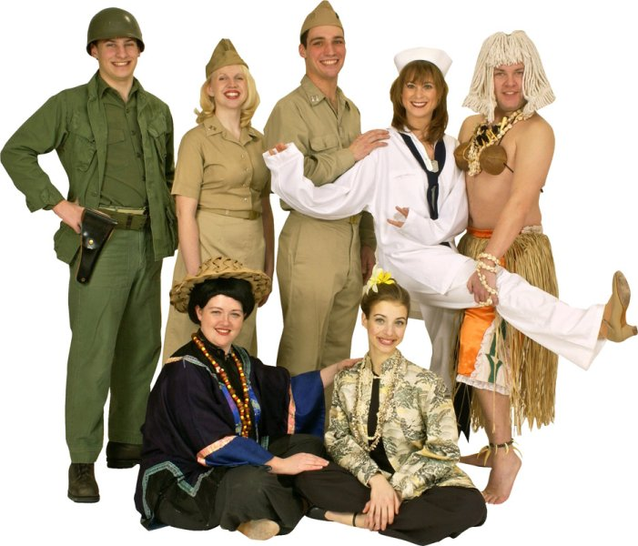 Rental Costumes for South Pacific - Enlisted American Navy Soldiers, American Navy Nurse, Nellie Forbush, Billy Luther, Bloody Mary, Liat