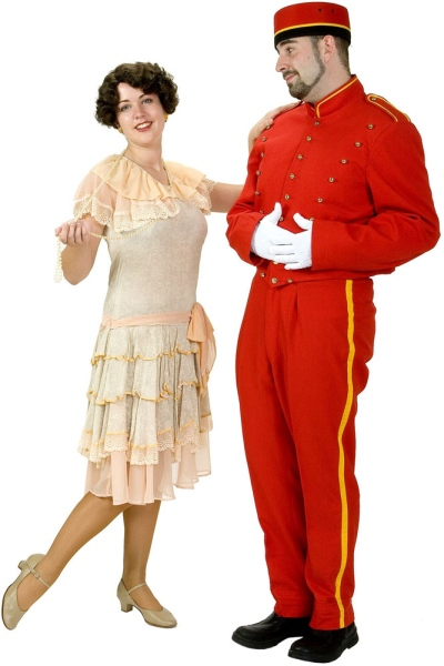 Rental Costumes for The Boy Friend - Polly Browne and Tony Brockhurst dressed in his delivery boy uniform