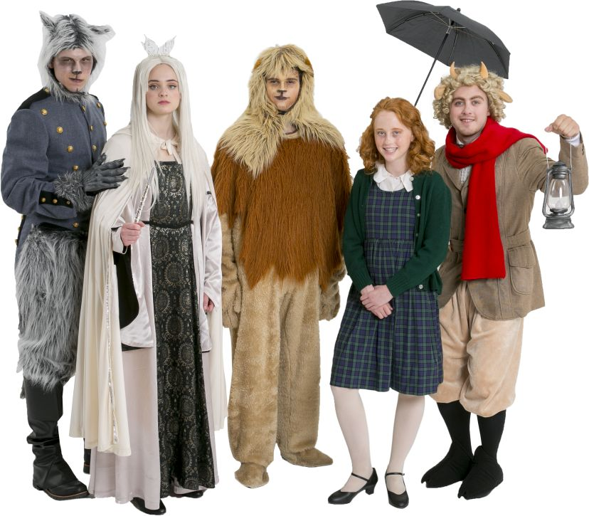 The Lion, The Witch, and The Wardrobe Fenris Ulf (Maugrim), Jadis the White Witch, Aslan, Lucy Pevensie, and Mr. Tumnus the Faun