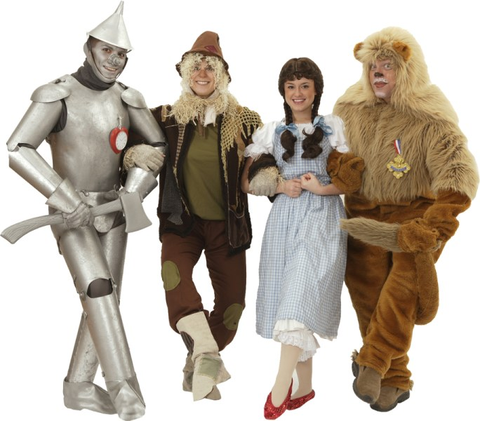 Rental Costumes for The Wizard of Oz - Tin Man, Scarecrow, Dorothy Gale, Cowardly Lion