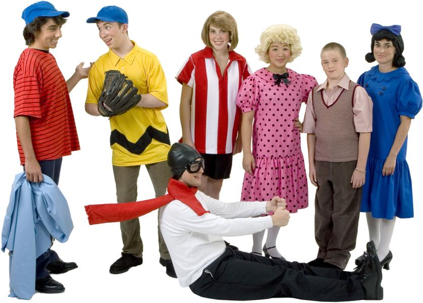 Rental Costumes for You're a Good Man, Charlie Brown - Linus with his blue blanket, Charlie Brown, Peppermint Patty, Sally, Schroeder, Lucy, Snoopy in his flying Ace outfit