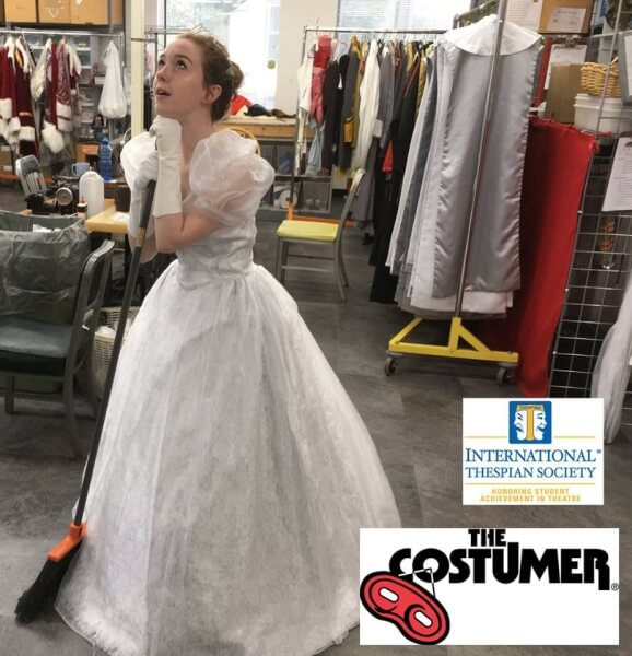 Grace White International Thespian Society Intern for The Costumer helping clean up production dressed as Cinderella