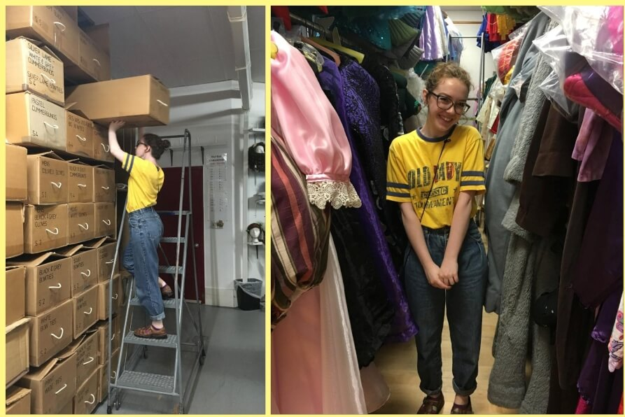 Grace White International Thespian Society Intern for The Costumer exploring the vault which holds The Costumers 100,000 plus costumes